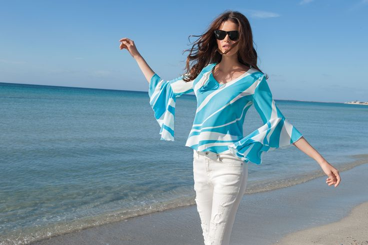 NARACAMICIE blouse in white and turquoise colour