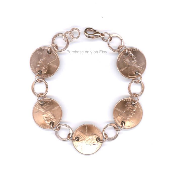 2008 Penny Bracelet Jewelry 10th Anniversary Gift for Women Handmade Copper Coin Chain Link Jewelry Gift Ideas For Her 50th Birthday Gifts by WvWorksJewelry on Etsy