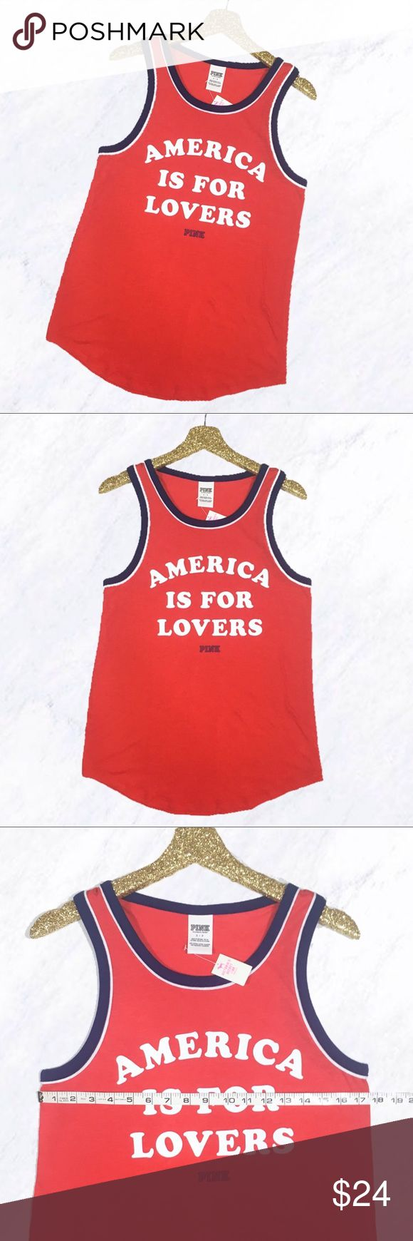 """VS PINK America is for Lovers Tank Top Super cute patriotic tank from Victoria's Secret PINK! Red with """"America is for Lovers"""" graphic text in white and blue trim around neck and arm holes. Perfect for 4th of July or any day because this statement is always true! This adorable sleeveless shirt is brand new with tags and never worn. PINK Victoria's Secret Tops Tank Tops"""