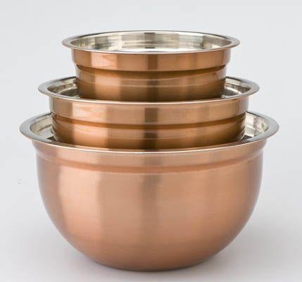 Myer  AUSTRALIAN HOUSE & GARDEN copper finish mixing bowls, small $14.95, medium $19.95, large $24.95
