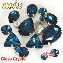 30 stks mix maten vormen pauw blauw kleur naaien strass glas kristal steen naaien accessoires voor kleding decoratie y3502(China (Mainland))