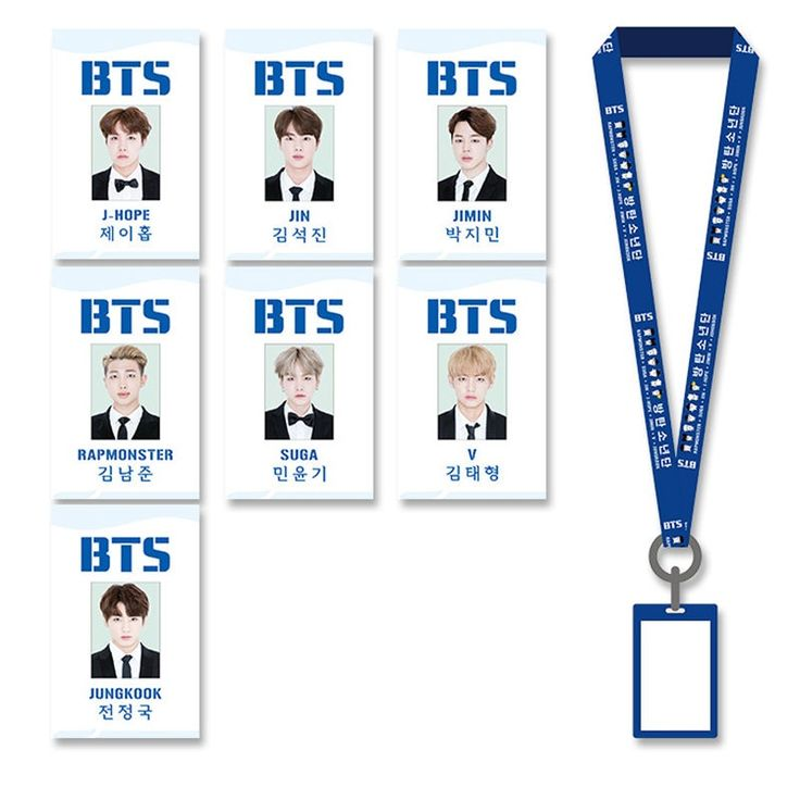 Youpop KPOP BTS Bangtan Boys Album Student Name Badge Holder With Cotton Neck Lanyard Office & School Supplies GHP001