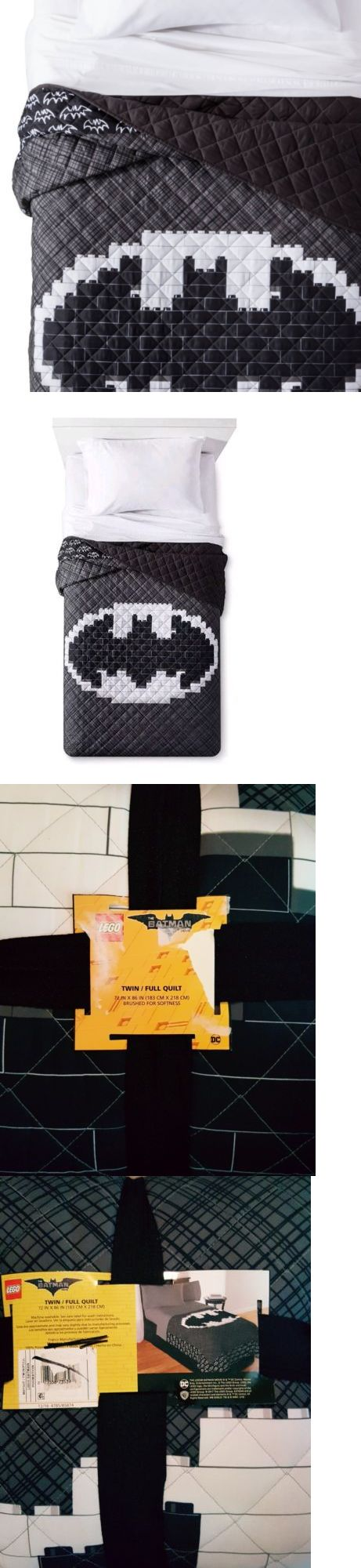 Quilts 66730: The Lego Batman Movie Quilt ~ Twin Full ~ Black Gray White Lego Bricks -> BUY IT NOW ONLY: $49.99 on eBay!