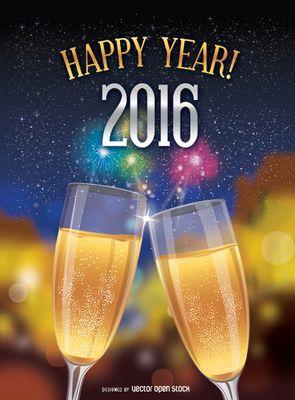 Brindis de Año Nuevo 2016. Feliz 2016 con brindis y fuegos artificiales. En vector e imagen normal. Descarga gratis.