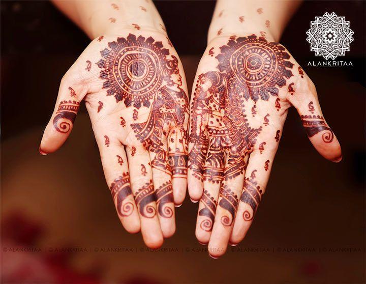 Rajasthani Mehndi Designs - Circular design with Prince and Princess
