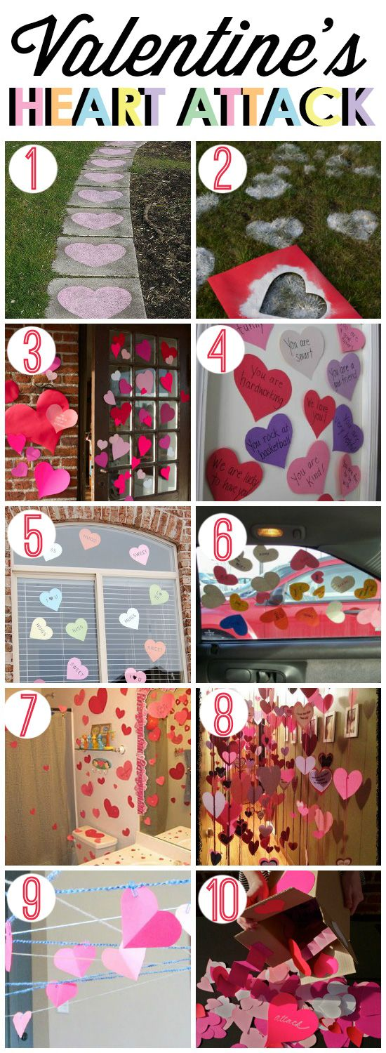 Heart Attack ideas for Valentine's Day- these are cute! This post has cute FREE printable hearts too.