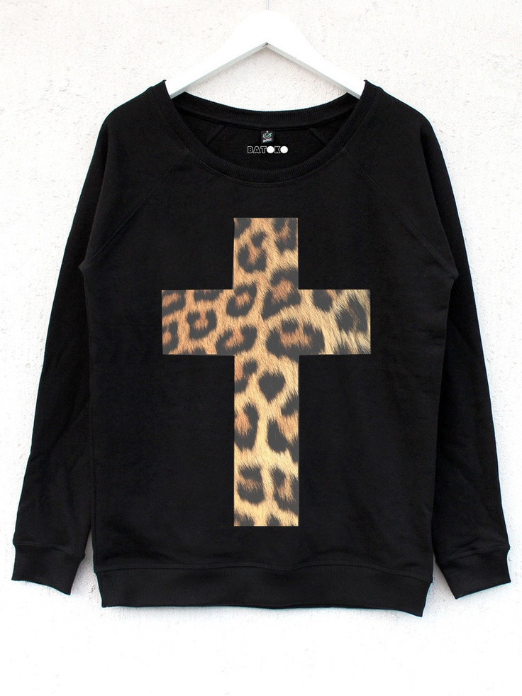 Black sweater with a cheetah cross