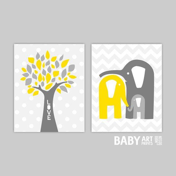 Yellow Grey Nursery art Set of 2 8x10.  Elephant by babyartprints, $20.00