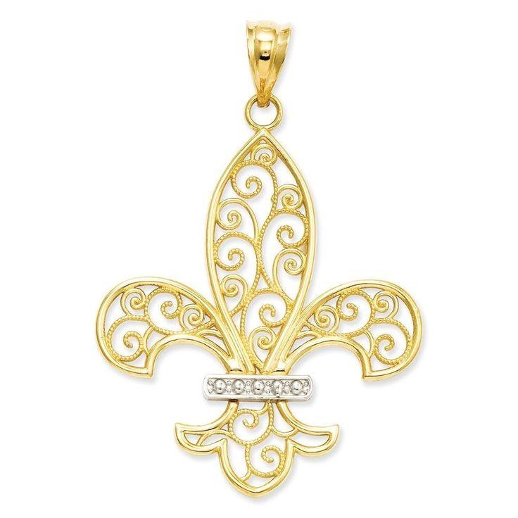 14k Yellow Gold and Rhodium Filigree Fleur de Lis Pendant (Two-Tone)