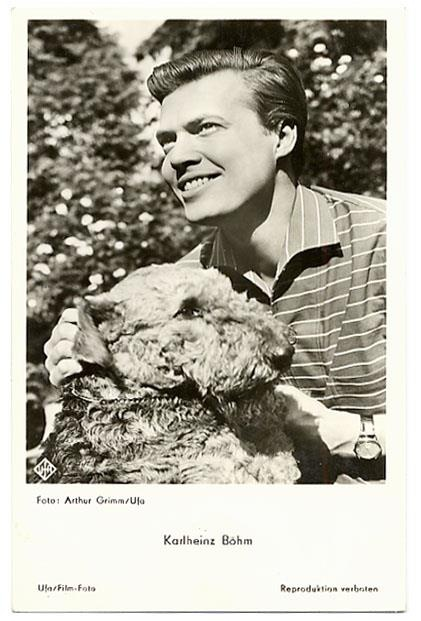 German actor Karlheinz Bohm and his Airedale