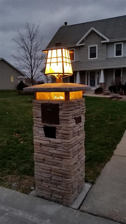 Craftman Style Lighted Stone Column Mailbox In 2019