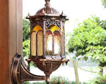 Gebrandschilderd glas Vintage buitenmuur gotische lantaarn tuin muur Lamp schansen verlichting Tiffany glas Decor
