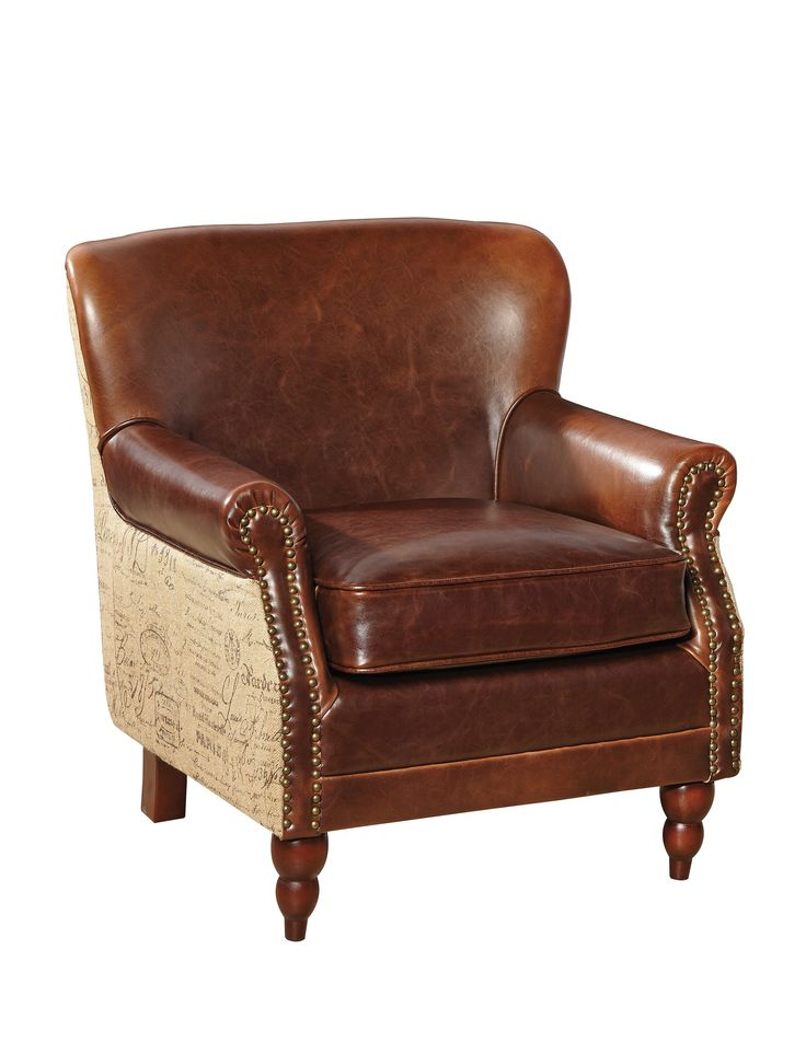 Petite Leather and Burlap Script Arm Chair | Small leather ...