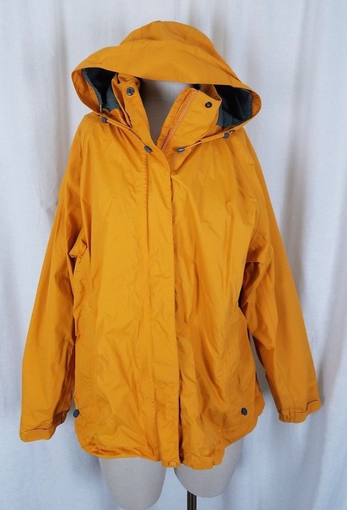 LL Bean GoreTex Stowaway Rain Jacket Shell Womens XL Yellow Coat Hooded  Packable | Womenu0027s Fashion Outerwear | Pinterest