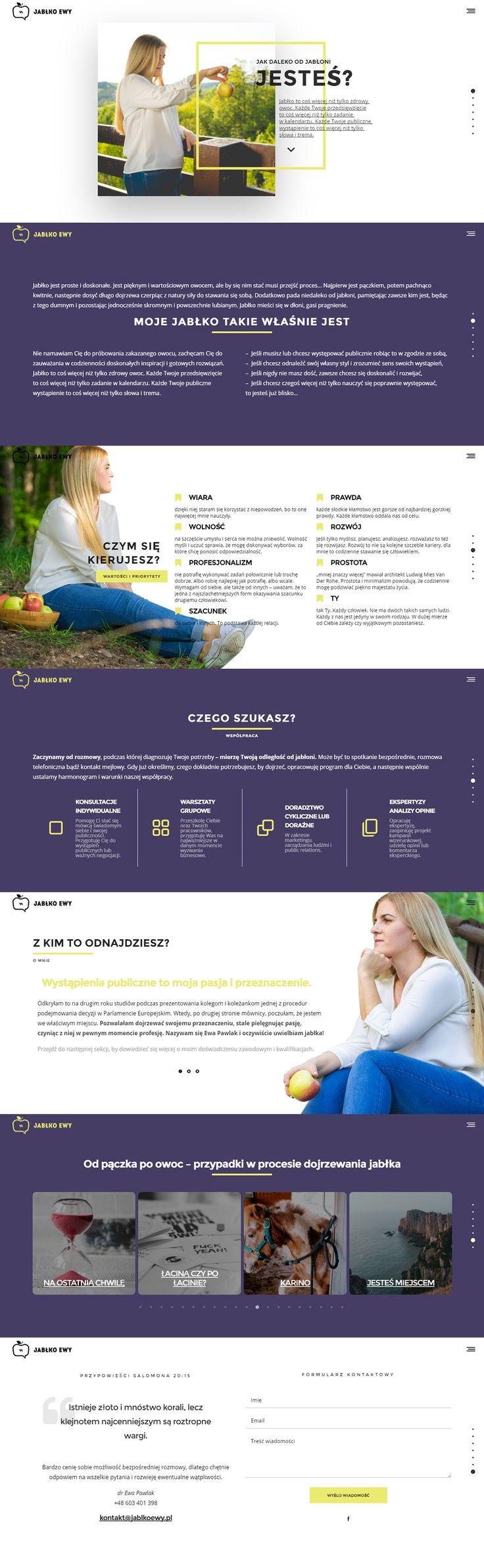 Website layout design, one page scroll, Brand identity design Jabłko Ewy Public Speaking Coach on Behance