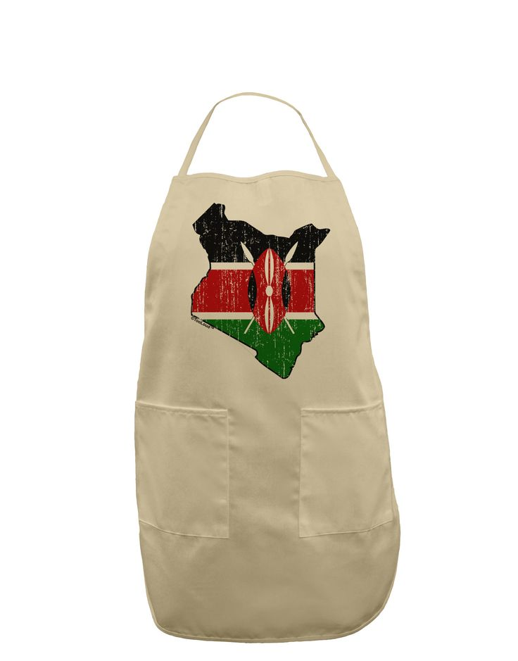TooLoud Kenya Flag Silhouette Distressed Adult Apron