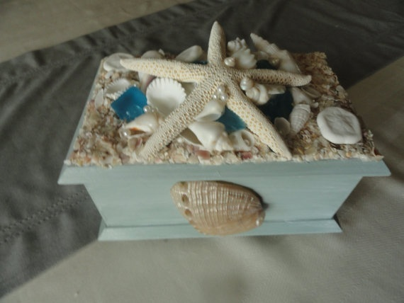 Seashell embellished jewelery box by TheSeaBiscuit on Etsy, $40.00