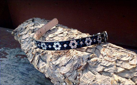 Daisy Chain 10-12 Leather Crystal Pet Collar 70