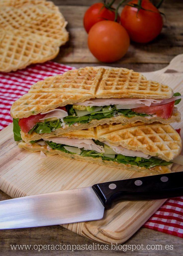 Operación Pastelito:: Gofres salados en forma de sandwich