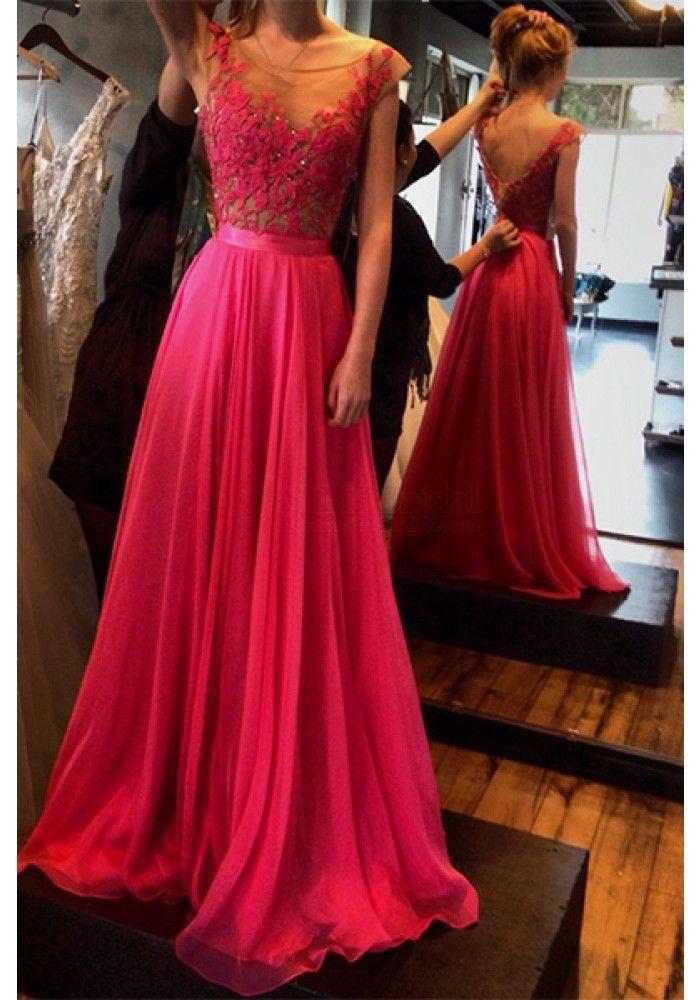 Gorgeous Applique A line Chiffon Long Prom Dresses  Evening Dresses  (ED1401)