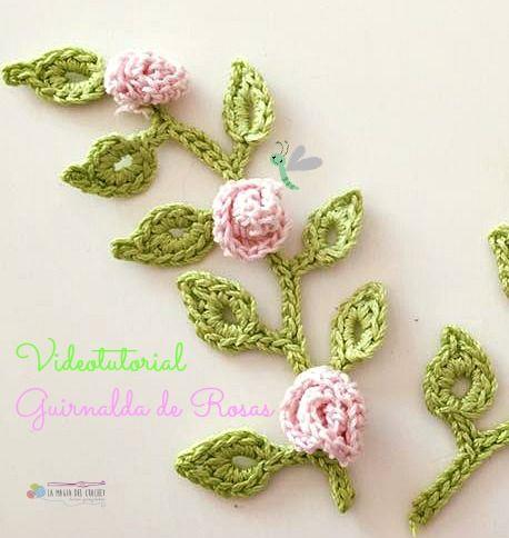 Prepara tus agujas de crochet para hacer esta bonita guirnalda de rosas. ¿Te animas?