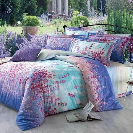 Lavender Purple and Blue Country Chic Floral Print 100% Cotton Satin Full, Queen Size Bedding Sets