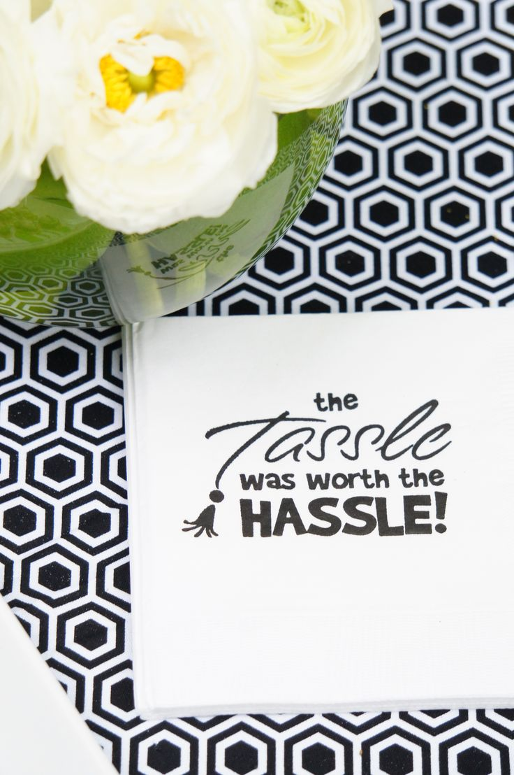 The Tassle was Worth the Hassle party napkins from #Swoozies - Graduation Party Ideas from #AmysPartyIdeas   AmysPartyIdeas.com