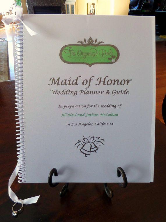 MAID OF HONOR Wedding Planner & Organizer Book by OrganizedBride, $32.00