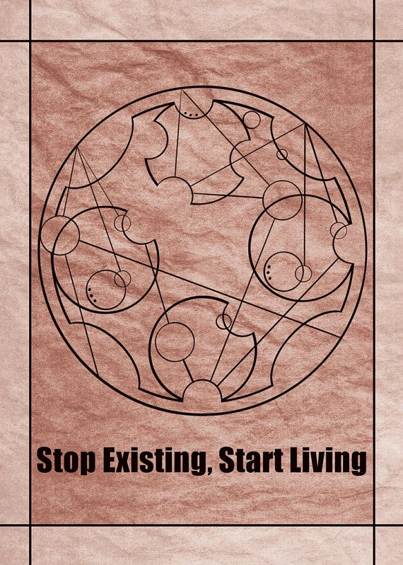 """""""Stop Existing, Start Living"""" in Gallifreyan from the BBC TV show Doctor Who.  Available in standard photo frame size: 5x7 Professionally made on glossy photo paper, and not from home printers.  Would you like a custom design? I take commissions!  Available on Bad Carrot Studio's Etsy shop!"""