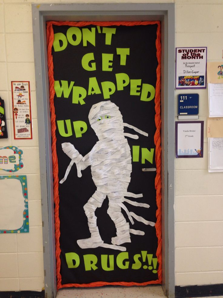 students write anti drug slogans on strips of paper and then tape them to a mummy form - Halloween Slogans