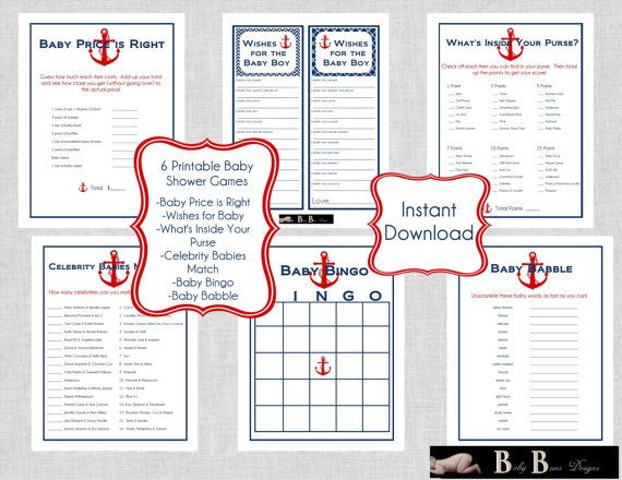 nautical baby shower games pack navy red 6 different games print