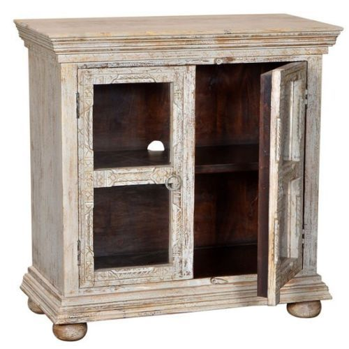 "38"" Hand Carved Mango Wood Glass Display Cabinet Antique Light Grey Distressed- $749.00"