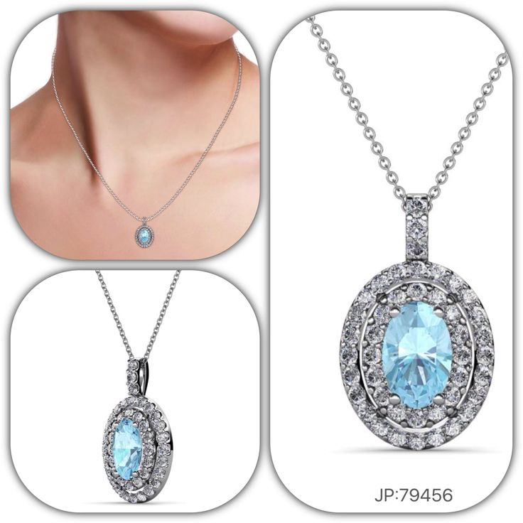 Legend says that aquamarine was the treasure of the mermaids. Keep the coveted gem close in an exquisite aquamarine necklace by setting it in White gold. #Aquamarine #Diamond #Double #Halo #Necklace #pendant #love #gift #jewelryforher #trijewels