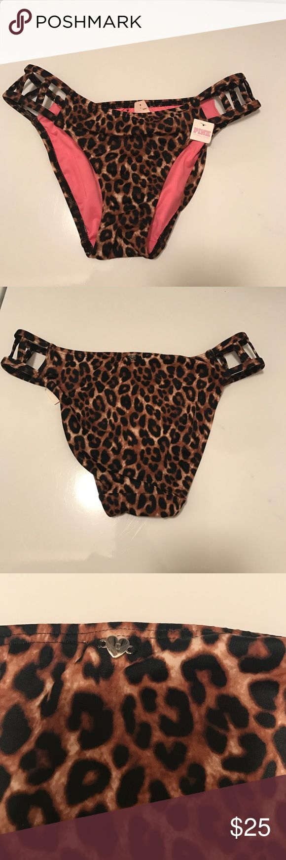 🐆Victoria's Secret PINK animal print bikini🐆 Victoria's Secret leopard print bikini bottoms! NWT .. Brown and black animal print bikini bottoms with cute open strappy sides! Let me know if you have any questions! Thanks for looking! Perfect for the beach 🌊  PINK Victoria's Secret Swim Bikinis