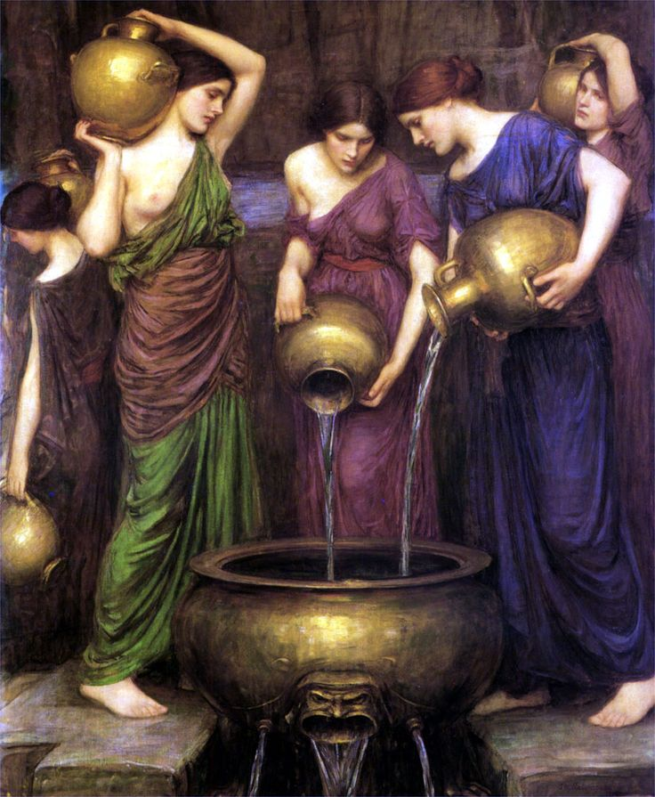 John William Waterhouse The Danaïdes - 1903. I want to put this in a bathroom, have old fashioned brass fittings and buy deep, jewel coloured towels to match the robes. LOL