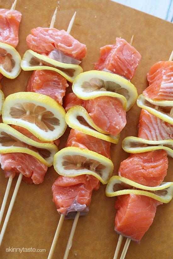 I love Salmon and lemon! Match made in heaven!! Grilled Salmon Kebabs | Skinnytaste
