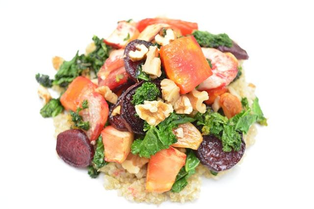 Quinoa og ovnsbakte grønnsaker = kjøttfri mandag. (Foto: Adele Holt-Iversen)