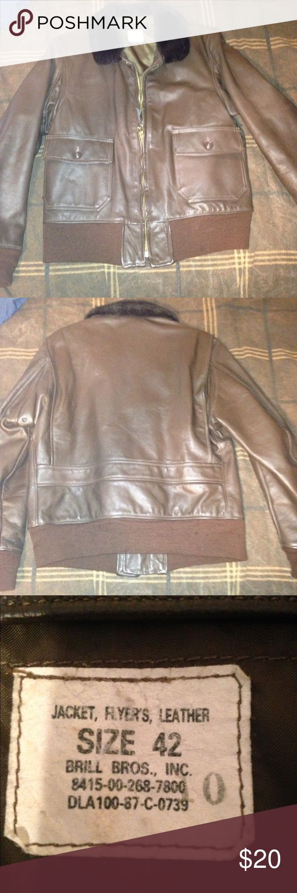 Leather flight jacket Flyers jacket, leather, does have snags and snag that made a hole, price reflects the defects. brill bros Jackets & Coats Bomber & Varsity