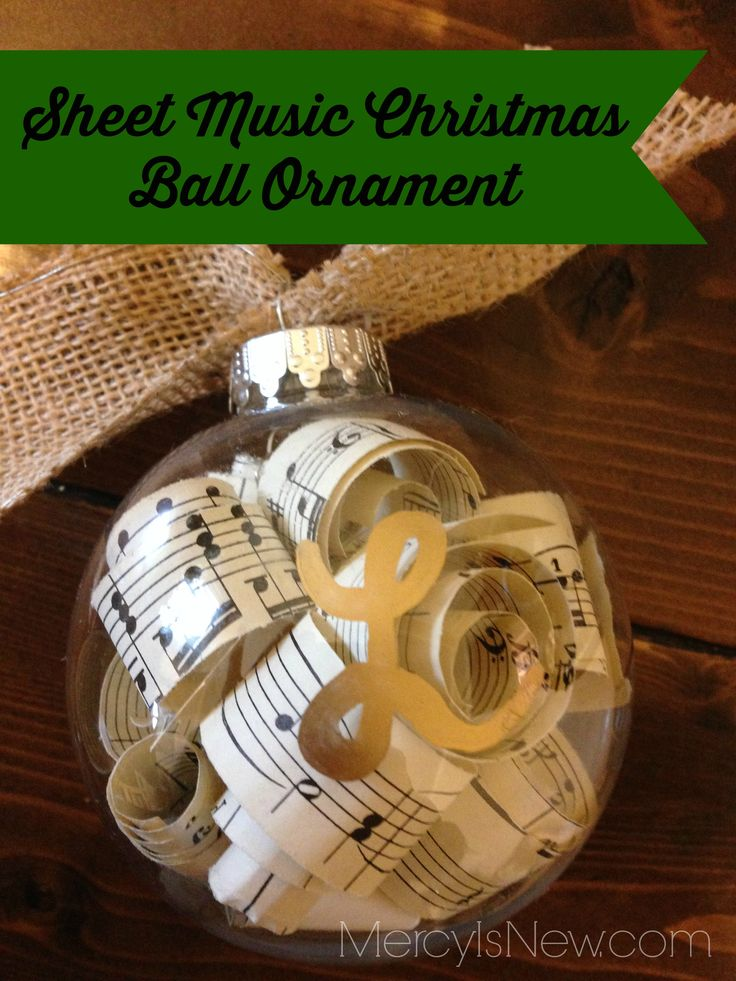 Sheet Music Christmas Ball Ornament that I made for my piano students! Super easy! Great for MUSIC TEACHERS or PIANO TEACHERS!