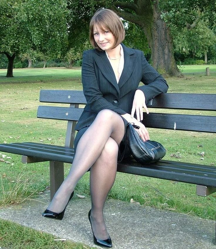 amateur brunette in pantyhose outdoors