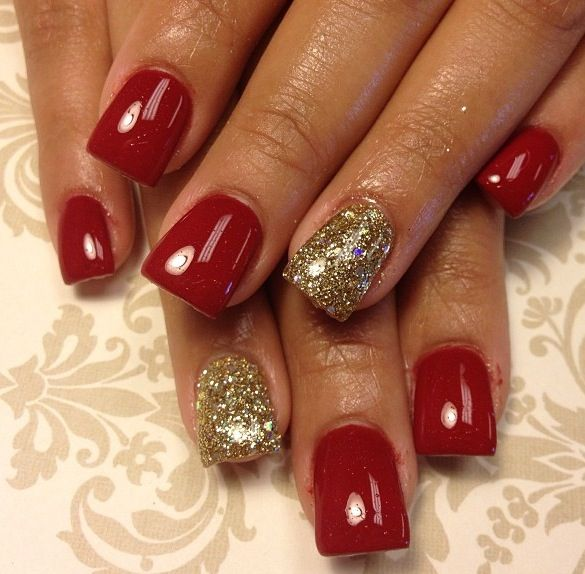 Christmas nails... The gold nail could be black sparkle to match my christmas eve outfit