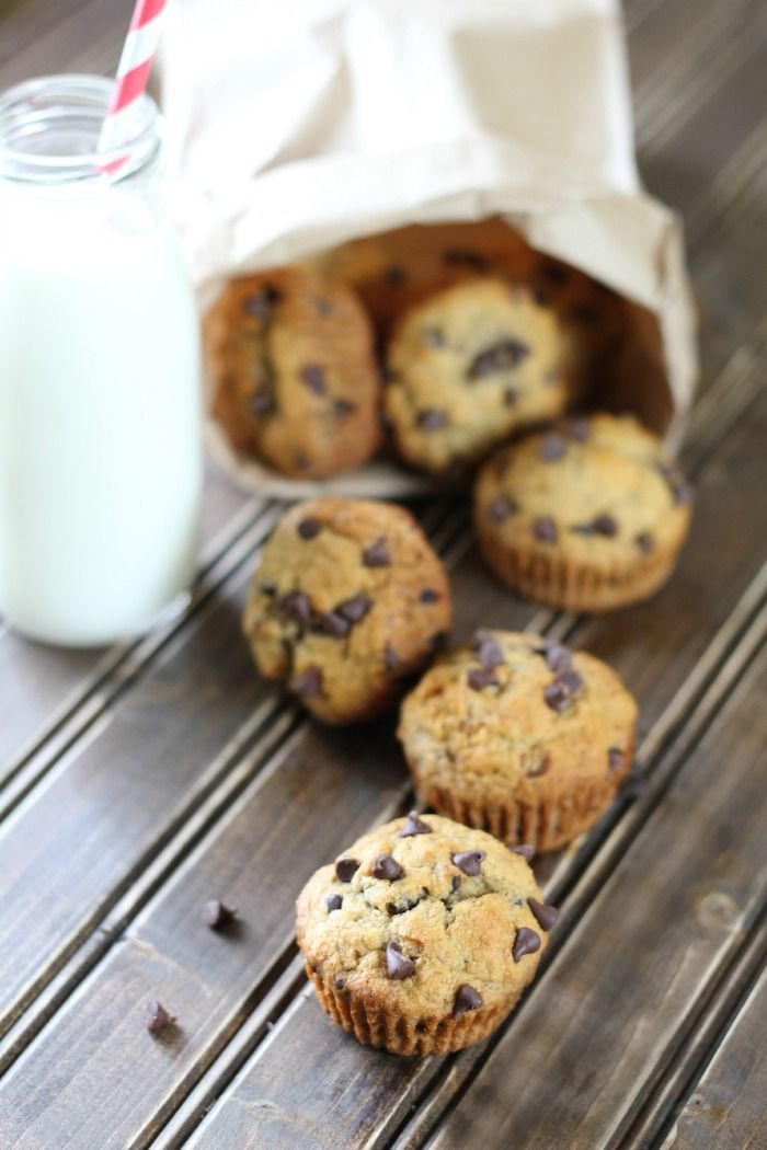 banana chocolate chip muffins - whole wheat flour, no added sugar until the choc. chips!