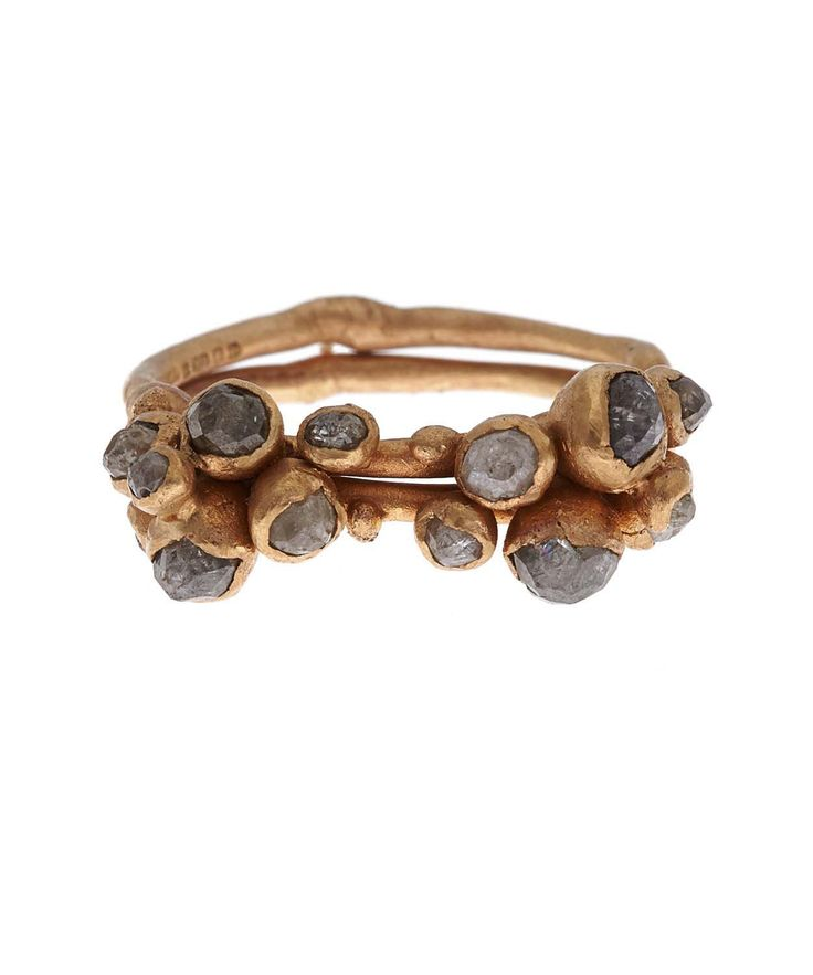 Gold Double Cluster Diamond Ring - Ruth Tomlinson