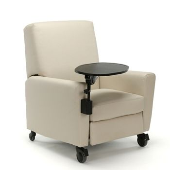 Oliver Push-Back Vinyl Recliner with Casters and Tablet Arm | National Business Furniture