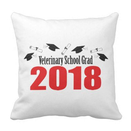 Veterinary School Grad 2018 Caps & Diplomas (Red) Throw Pillow - graduation gifts giftideas idea party celebration