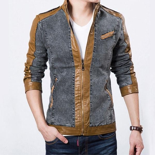 Handsome Leather Splicing Jean Coat Jacket of Long Sleeve/79184 via AmaSell. Click on the image to see more!