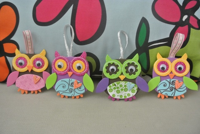 """PikuHibu Foam Tags/Ornaments"" - These colourful 3"" tall  foam character owls come in a variety of different colours. Comes with a ribbon to hang. Great as an ornament or a whimsical gift-tag."