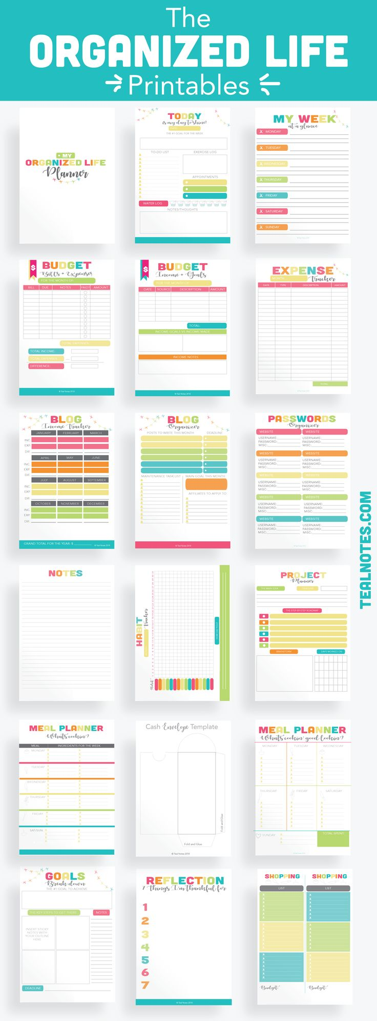 The Organized Life Printables | 18 Printables to organize your whole life | Gorgeous printable pages for your home |