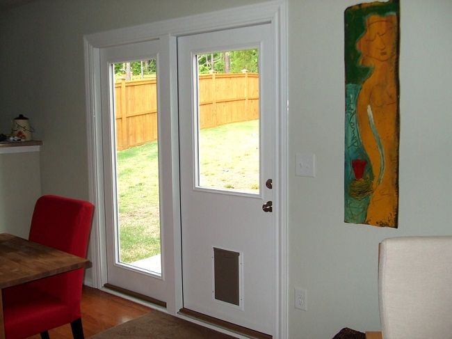sliding glass door with dog door built in door designs plans