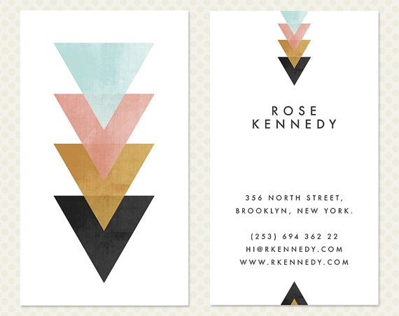 Geometric Business Card Design Modern Minimal Chic Elegant Branding Vertical Calling Card Biz Card Coral Mint Tribal Triangle Arrow